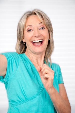 woman mature: Portrait of cheerful mature woman