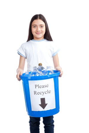 Young happy girl holding recycling waste bin  Stock Photo - 12766437