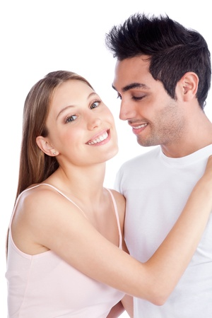 Portrait of diverse young couple isolated on white background Stock Photo - 12766916