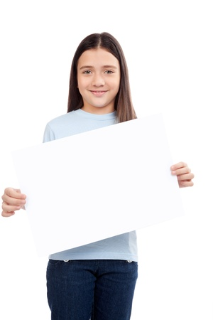 Happy smiling girl holding blank placard  Stock Photo - 12767141