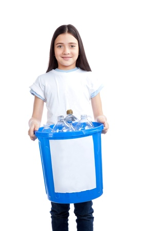 Young happy girl holding recycling waste bin  Stock Photo - 12767136