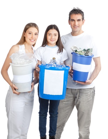 Portrait of happy couple smiling with daughter holding recycle bin Stock Photo - 12767238