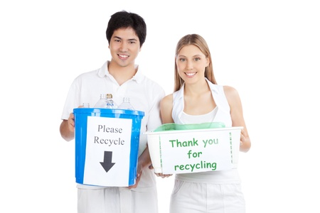 Portrait of young happy couple holding recycle bin   photo