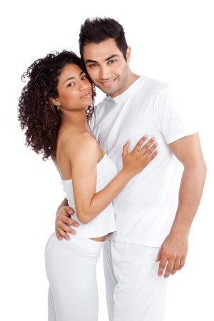 latin american ethnicity: Portrait of diverse young couple isolated on white background
