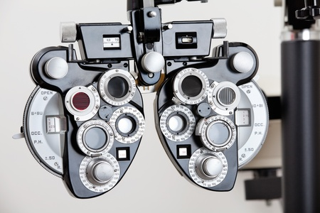 An optical device to measure refractive error of a human eye Stock Photo