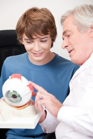 cornea: Optometrist showing medical eye model