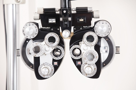 eye test: Close-up of eye exam equipment