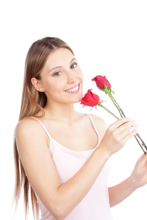 Young happy woman with red rose isolated on white background  photo