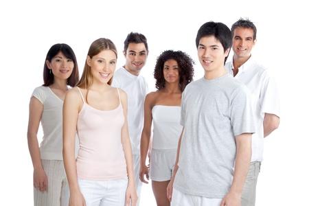latin american ethnicity: Multiethnic group of people isolated on white background  Stock Photo