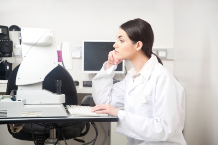 computer lab: Portrait of female optometrist in clinic