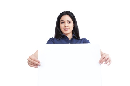 Close-up of businesswoman holding blank placard isolated on white background  photo