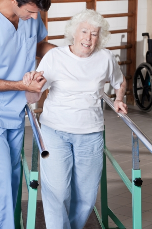 physical injury: A doctor assisting a senior citizen