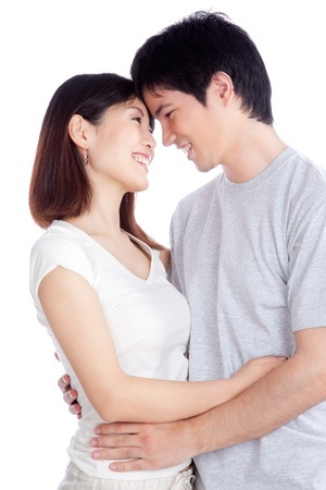 happy asian couple: Portrait of Asian young couple isolated on white background  Stock Photo