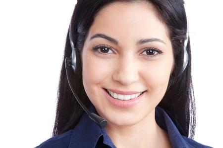 head set: Happy businesswoman wearing a headset isolated on white background  Stock Photo