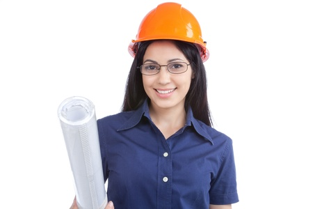 Woman architect with hardhat and blueprints isolated on white background  photo