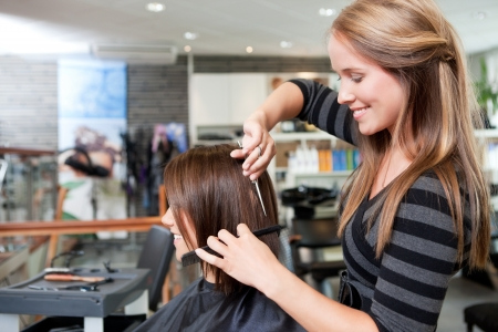 stylist: Hairdresser cutting client s hair in beauty salon