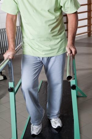 Portrait of Senior man having ambulatory therapy  photo