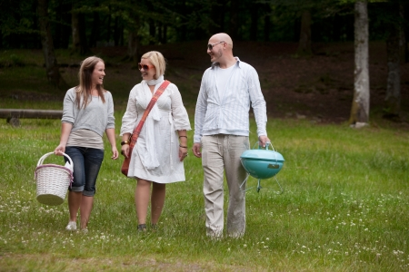 Friends walking in park ready for a BBQ picnic Stock Photo - 14508115