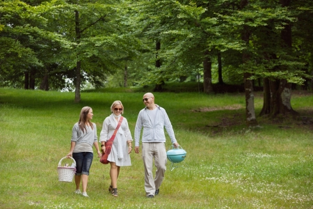 leisureliness: Full length of friends iin casual wear out for a picnic in a forest park