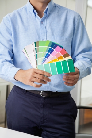 Midsection of male interior designer holding fanned out color swatches Stock Photo - 14838457