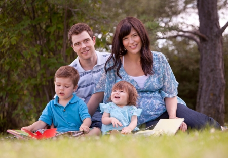 Happy family in park reading and having fun Stock Photo - 15205252