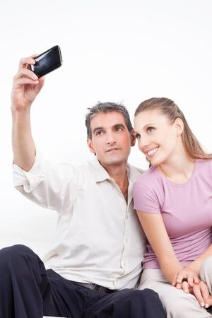Lovely couple taking self portrait  photo