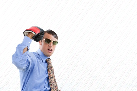 Retro business man punching himself in head photo