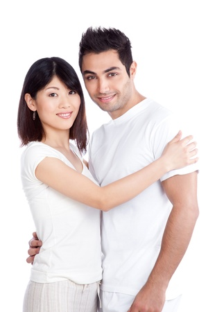 east asian ethnicity: Portrait of diverse young couple isolated on white background