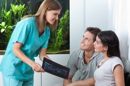 Female dentist showing dental x-ray to young couple in clinic photo