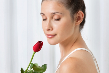 Beautiful calm young woman holding a red rose over white background Stock Photo - 15528126