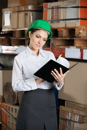 Supervisor Reading Book At Warehouse Stock Photo - 16715222