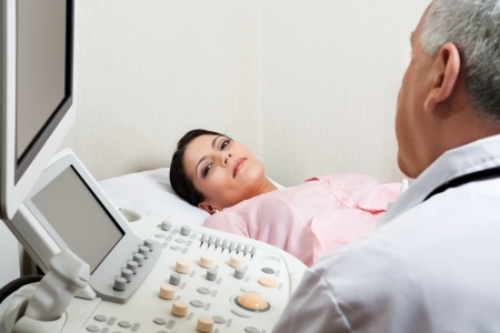 sonography: Female For Ultrasound Check Up At Clinic