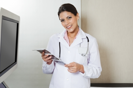 sonography: Female Radiologist Holding Sonography Print