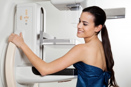 cancer x ray: Female Taking Mammogram X-ray Test