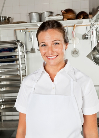 Female Chef In Restaurant Kitchen photo