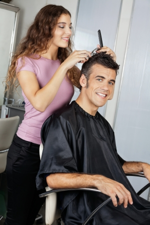 Mature Client Getting Haircut In Salon photo