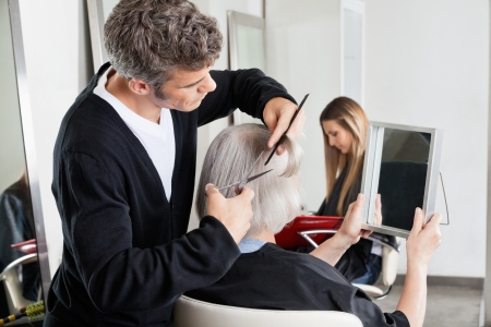 Hairdresser Cutting Client s Hair At Salon Stock Photo - 18068578