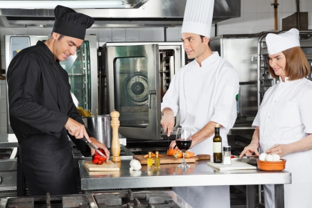 Chefs Working In Commercial Kitchen photo