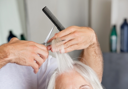 Hairdresser s Hand Cutting Hair In Parlor Stock Photo - 18136900