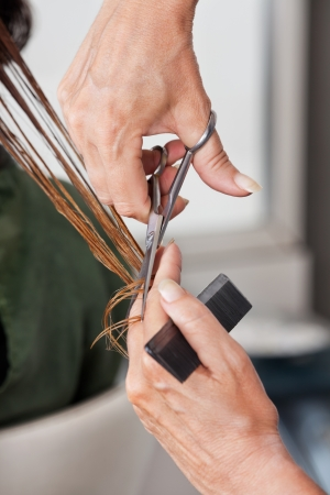 Hands Cutting Wet Hair In Salon photo