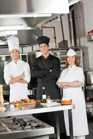 Team Of Confident Chefs In Industrial Kitchen photo