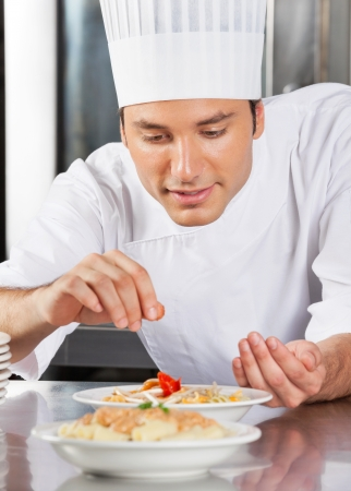Chef Sprinkling Spices On Dish Stock Photo - 18136814