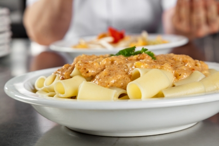 Pasta Served In Plate Stock Photo