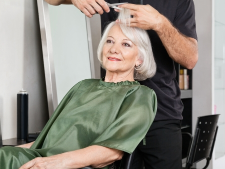 Woman Having Hair Cut At Salon Stock Photo