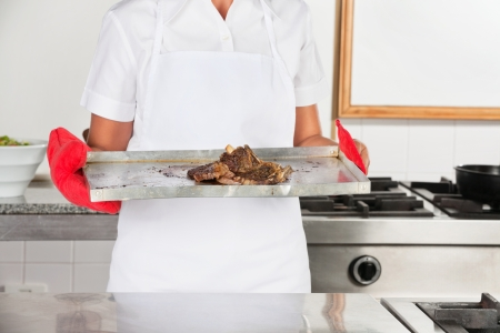 Female Chef With Tray Of Roasted Meat Stock Photo - 18236582