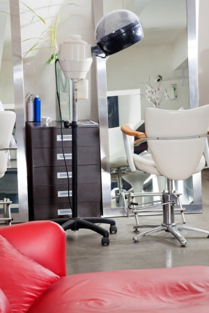 Hair Salon With Steamer And Chair photo