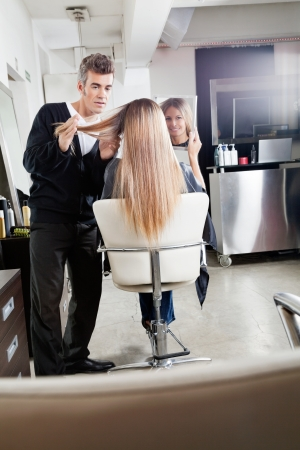 Hairdresser Styling Client s Hair Stock Photo - 18262087
