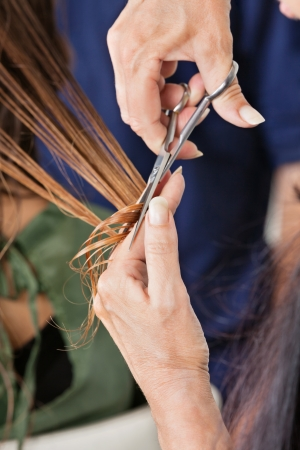 Hairdresser s Hand Cutting Hair Of Client Stock Photo - 18261989