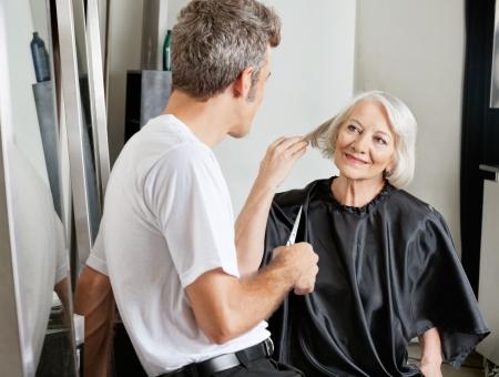 instructing: Client Instructing Hairdresser In Salon