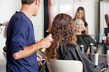 Hairdresser Setting Up Client s Hair photo